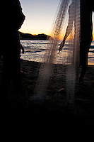 Shilouette of fisherman and family, Sayulita, Mexico