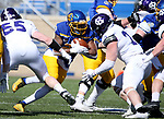 BROOKINGS, SD - APRIL 24: South Dakota State Jackrabbits running back Pierre Strong Jr. #20 looks for running room against the defense from the Holy Cross Crusaders at Dana J Dykhouse Stadium on April 24, 2021 in Brookings, South Dakota. (Photo by Dave Eggen/Inertia)