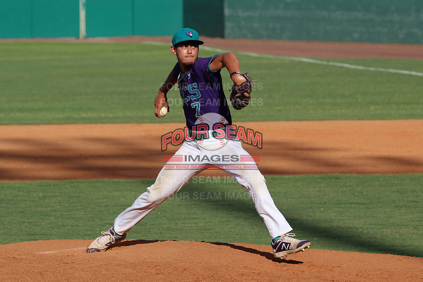 Florida Southwestern pitcher Antonio Knowles (7) during a game against State College of Florida on April 28, 2021 at City of Palms Park in Fort Myers, Florida.  (Bryan Green/Four Seam Images)