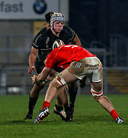12 December 2020; Conor McMenamin of Ulster is tackled by Thomas Ahern of Munster during the A series inter-pros series 20-21 between Ulster A and Munster A at Kingspan Stadium, Ravenhill Park, Belfast, Northern Ireland. Photo by John Dickson/Dicksondigital