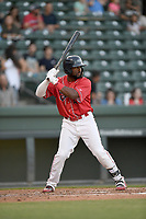 Designated hitter Juan Carlos Abreu (41) of the Greenville Drive, playing as the Energia in MiLB's Copa de la Diversion, bats in a game against the Augusta GreenJackets on Wednesday, April 10, 2019, at Fluor Field at the West End in Greenville, South Carolina. Augusta won, 9-8. (Tom Priddy/Four Seam Images)