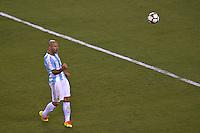 Action photo during the match Argentina vs Chile corresponding to the Final of America Cup Centenary 2016, at MetLife Stadium.<br /> <br /> Foto durante al partido Argentina vs Chile cprresponidente a la Final de la Copa America Centenario USA 2016 en el Estadio MetLife , en la foto:Javier Mascherano<br /> <br /> <br /> 26/06/2016/MEXSPORT/JAVIER RAMIREZ