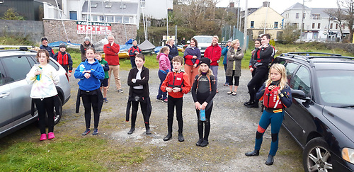 the CSS resumed regatta Oppie competitors - from left, Katie Gaynor, Ciara Ní Chonghaíle, Michael Breathnach (3rd), Rory McHale (2nd), Realtiín Boinnard and Sarah Donald (1st) before the results were announced Photo: Bartley Fannin)