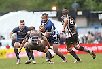 Leinster A replacement Leo Auva'a charges at Pontypridd outside half Simon Humberstone.<br /> British & Irish Cup Semi Final<br /> Pontypridd v Leinster A<br /> Sardis Road - Pontypridd<br /> <br /> ©Steve Pope-SPORTINGWALES