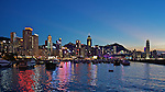 Evening Light Over The Causeway Bay Typhoon Shelter, Hong Kong Harbour. The Peak Is Visible To The Rear.
