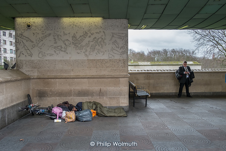 Rough sleeper, Piccadilly, London.