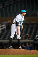 Salt River Rafters relief pitcher Simon Rosenblum-Larson (28), of the Tampa Bay Rays organization, during an Arizona Fall League game against the Mesa Solar Sox on September 19, 2019 at Salt River Fields at Talking Stick in Scottsdale, Arizona. Salt River defeated Mesa 4-1. (Zachary Lucy/Four Seam Images)