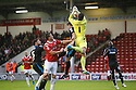 Richard O'Donnell of Walsall fumbles the ball leading to Stevenage's goal<br />  - Walsall v Stevenage - Sky Bet League One - Banks's Stadium, Walsall - 19th October 2013. <br /> © Kevin Coleman 2013