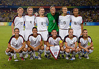 The USWNT lines up before playing for the gold medal at Workers' Stadium.  The USWNT defeated Brazil, 1-0, during the 2008 Beijing Olympic final in Beijing, China.