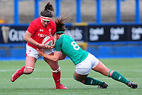 Siwan Lillicrap of Walesis tackled by Claire McLaughlin of Ireland during the Women's Six Nations match between Wales and Ireland at Cardiff Arms Park, Cardiff, Wales, UK. Sunday 17 March 2019
