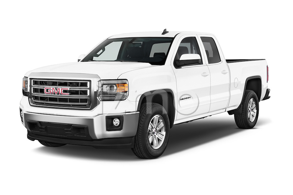 2015 GMC Sierra 1500 SLE 4 Door Pick-up Angular Front stock photos of front three quarter view