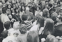 1972 FILE PHOTO - ARCHIVES -<br /> <br /> Prime minister trudeau has had closer personal conver his election campaign this time than he did in 1968, says Peter Desbarats. The campaign has aimed at a national consensus that Canada has resolved most of the problems of unity and identity-especially the question of Quebec's place in Confederation-that occupied public attention in the '60s.<br /> <br /> 1972<br /> <br /> PHOTO : Boris Spremo - Toronto Star Archives - AQP