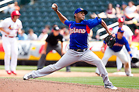 Jonathan Ortiz (41) of the Midland RockHounds delivers a pitch during a game against the Springfield Cardinals on April 19, 2011 at Hammons Field in Springfield, Missouri.  Photo By David Welker/Four Seam Images