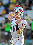 Southern Methodist Mustangs quarterback Garrett Gilbert (11) in action during the game between the Southern Methodist Mustangs and the Baylor Bears at the Floyd Casey Stadium in Waco, Texas. Baylor defeats SMU 59 to 24.