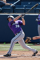 Jason Coats #38 of the TCU Horned Frogs bats against the Cal State Fullerton Titans at Goodwin Field on February 26, 2012 in Fullerton,California. Fullerton defeated TCU 11-10.(Larry Goren/Four Seam Images)
