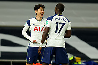 5th January 2021; Tottenham Hotspur Stadium, London, England; English Football League Cup Football, Carabao Cup, Tottenham Hotspur versus Brentford; Son Heung-Min of Tottenham Hotspur celebrates his goal with Moussa Sissoko for 2-0 in the 70th minute