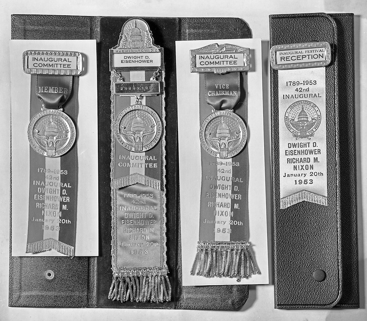 Client: A.G. Trimble Co.<br /> Ad Agency: None / Trimble<br /> Product: Political Pins and Buttons<br /> Location: Brady Stewart Studio, 812 Market Street, Pittsburgh.<br /> <br /> Individual ribbons for the 1953 Presidential inaugural reception for Dwight Eisenhower and Richard Nixon.
