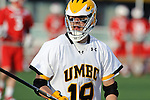 Baltimore, MD - March 3:  Long stick midfielder Nathan Klein #19 of the UMBC Retrievers during the Fairfield v UMBC mens lacrosse game at UMBC Stadium on March 3, 2012 in Baltimore, MD.
