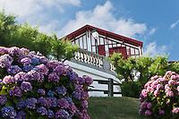 Europe/France/Aquitaine/64/Pyrénées-Atlantiques/Pays-Basque/Guéthary: Villa et Hortensias sur la corniche - Ancienne  ferme Gurutzia restaurée en pension de famille en 1893