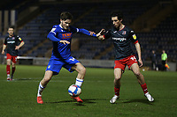 Noah Chilvers of Colchester United and Joel Randall of Exeter City during Colchester United vs Exeter City, Sky Bet EFL League 2 Football at the JobServe Community Stadium on 23rd February 2021