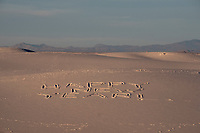 """People wrote """"Happy New Year"""" in the sand at White Sands National Monument near Alamogordo, New Mexico, USA, on Sat., Dec. 30, 2017."""