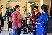 Women at Hairdressing School