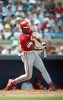 Cincinnati Reds Reggie Sanders (16) during Spring Training 1993 at Joker Marchant Stadium in Lakeland, Florida.  (MJA/Four Seam Images)