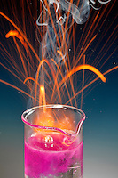 SODIUM REACTS VIOLENTLY WITH WATER<br /> Phenolphthalein Shows Resulting Alkalinity.<br /> Sodium, an alkali metal, dropped in water forms hydrogen gas and an alkali solution of sodium hydroxide. This is a single replacement reaction.  2Na(s) + 2H2O(l) -> 2NaOH(aq) + H2(g)
