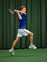 Rotterdam, The Netherlands, 07.03.2014. NOJK ,National Indoor Juniors Championships of 2014, 12and 16 years, Michiel de Krom (NED)<br /> Photo:Tennisimages/Henk Koster