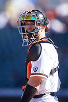 Oregon State Beavers catcher Troy Claunch (17) during an NCAA game against the New Mexico Lobos at Surprise Stadium on February 14, 2020 in Surprise, Arizona. (Zachary Lucy / Four Seam Images)