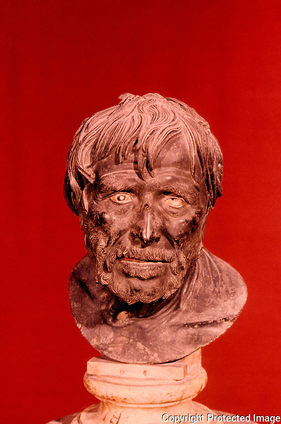 Greek Art:  Bronze Bust--supposedly Seneca. National Museum, Naples.