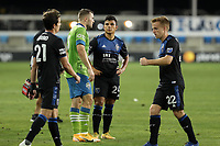 SAN JOSE, CA - OCTOBER 18: Jordan Morris #13 of the Seattle Sounders talks with Nick Lima #24 of the San Jose Earthquakes during a game between Seattle Sounders FC and San Jose Earthquakes at Earthquakes Stadium on October 18, 2020 in San Jose, California.