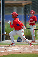 Philadelphia Phillies Wilson Garcia (25) during a minor league Spring Training game against the Toronto Blue Jays on March 26, 2016 at Englebert Complex in Dunedin, Florida.  (Mike Janes/Four Seam Images)