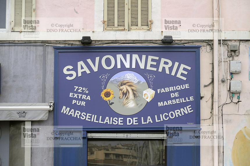 - Marsiglia, insegna di un negozio che vende sapone<br /> <br /> - Marseille, sign of a store selling soap