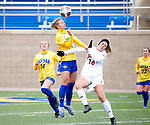 BROOKINGS, SD - MARCH 14: Gabby Vivier-Hannay #2 from South Dakota State battles for the ball with Macee Barlow #16 from Denver during their match at Dana J. Dykhouse Stadium on March 14, 2021 in Brookings, South Dakota. (Photo by Dave Eggen/Inertia)
