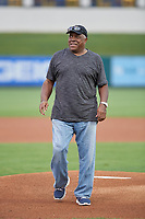 Former Detroit Tigers center fielder Ron LeFlore throws out a ceremonial first pitch before the Florida State League All-Star Game on June 17, 2017 at Joker Marchant Stadium in Lakeland, Florida.  FSL North All-Stars defeated the FSL South All-Stars  5-2.  (Mike Janes/Four Seam Images)