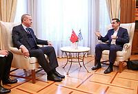 Pictured: Turkey president Recep Tayyip Erdogan meets with Prime Minister Alexis Tsipras at the Maximos Mansion<br /> Re: Turkey's president Recep Tayyip Erdogan has begun a landmark visit to Greece. Thursday 07 December 2017