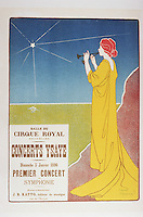 Reproduction of a poster advertising the 'Ysaye Concerts', Salle du Cirque Royal, Brussels, 1895 (colour litho), Meunier, Henri Georges Jean Isidore (1873-1922)