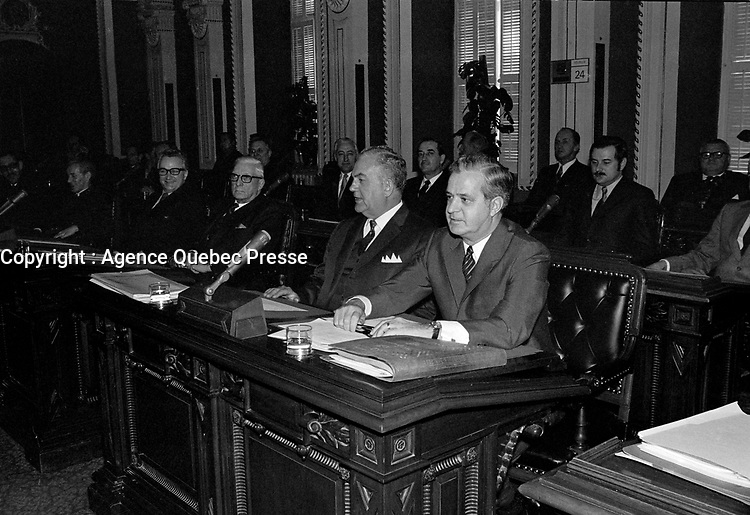 Sujet : Politique - Maurice Bellemarre, Jean-Jacques Bertrand et Jean-Guy Cardinal<br /> Date: 24 février 1970<br /> <br /> Photo : Photo Moderne - © Agence Quebec Presse