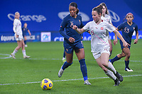 Swiss Thais Hurni (16) and French Grace Geyoro (8) pictured during the 2nd Womens International Friendly game between France and Switzerland at Stade Saint-Symphorien in Longeville-lès-Metz, France.