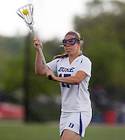 Morgan Miller (17) of Duke passes the ball during the first round of the ACC Women's Lacrosse Championship in College Park, MD.  Duke defeated Boston College, 17-6.