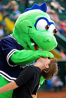 3 July 2011: The Vermont Lake Monsters Mascot Champ entertains fans at a game against the Tri-City ValleyCats at Centennial Field in Burlington, Vermont. The Lake Monsters rallied from a 6-3 deficit, scoring 4 runs in the bottom of the 9th, to defeat the ValletCats 7-6 in NY Penn League action. Mandatory Credit: Ed Wolfstein Photo