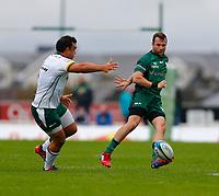 11th September 2021; Galway Greyhound Stadium, Connacht, Galway, Ireland; Pre-season rugby union, Connacht versus London irish; Jack Carty kicks the ball forward for Connacht