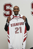 STANFORD, CA - APRIL 28:  Stanford Cardinal men's basketball head coach Johnny Dawkins holds a jersey after being introduced during a press conference on April 28, 2008 at Kissick Auditorium in Stanford, California. (Photo by David Gonzales/Stanford via Getty Images)