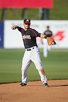 Kannapolis Intimidators shortstop Eddy Alvarez (1) on defense against the West Virginia Power at CMC-Northeast Stadium on April 21, 2015 in Kannapolis, North Carolina.  The Power defeated the Intimidators 5-3 in game one of a double-header.  (Brian Westerholt/Four Seam Images)