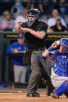 Umpire Clay Park makes a call during a game between the Bradenton Marauders and St. Lucie Mets on April 12, 2013 at McKechnie Field in Bradenton, Florida.  St. Lucie defeated Bradenton 6-5 in 12 innings.  (Mike Janes/Four Seam Images)