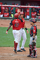 Team USA Josh Bell (47) high fives Aaron Judge (99) after hitting a home run during the MLB All-Star Futures Game on July 12, 2015 at Great American Ball Park in Cincinnati, Ohio.  (Mike Janes/Four Seam Images)