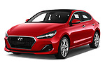 2018 Hyundai i30 Fastback Shine 5 Door Hatchback angular front stock photos of front three quarter view