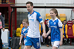 Motherwell v St Johnstone…05.05.18…  Fir Park    SPFL<br />Steven MacLean leads the team out for his last game for saints with daughter Ruby (right) and neice Madison Smith<br />Picture by Graeme Hart. <br />Copyright Perthshire Picture Agency<br />Tel: 01738 623350  Mobile: 07990 594431