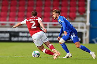 5th September 2020; PTS Academy Stadium, Northampton, East Midlands, England; English Football League Cup, Carabao Cup, Northampton Town versus Cardiff City; Joe Bennett of Cardiff City takes on Michael Harriman of Northampton Town